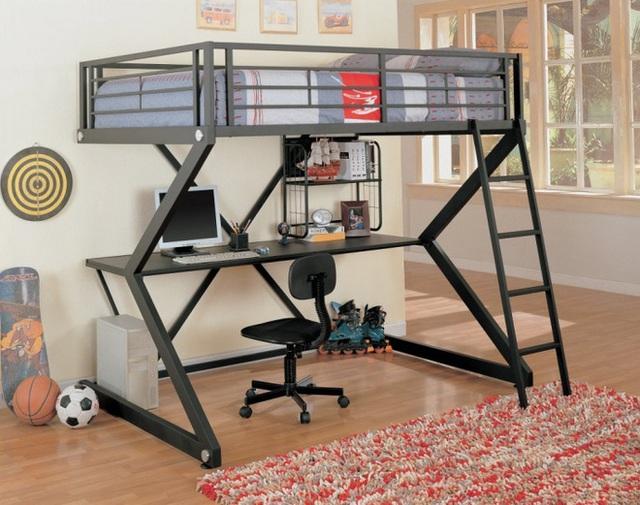 7. Với không gian nhỏ, việc thiết kế giường bằng kim loại, thêm hệ thống bàn học với kết cấu độc đáo. Tuy nội thất không chiếm nhiều diện tích sử dụng nhưng với thiết kế đầy ấn tượng này, căn phòng của bé rộng hơn và tiện ích hơn.