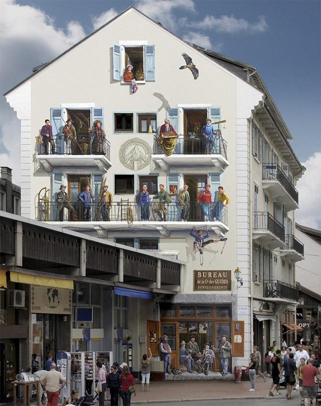 Những bức tường với màu sơn đơn giản, mờ nhạt có thể biến thành tiệm hàng nhộn nhịp nhờ nét vẽ sáng tạo của họa sĩ.