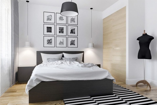 Kiểu dáng đẹp của phòng ngủ hiện đại này mang lại bầu không khí quen thuộc cho chúng ta. Việc trang trí đơn giản tỏa ra sự bình an nhờ những tấm thảm đơn sắc năng động.