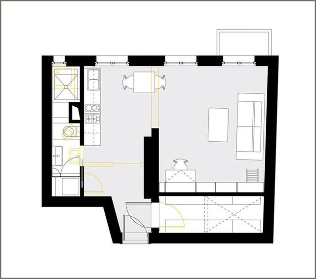 Sơ đồ thiết kế của căn hộ.