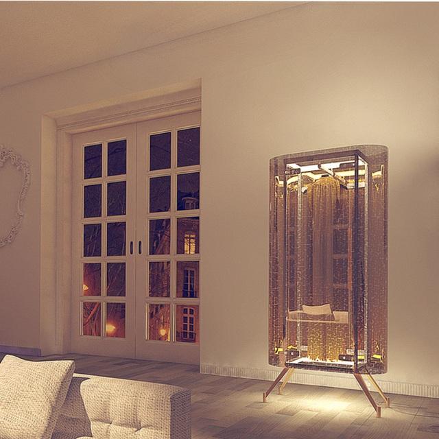 Chọn một chiếc tủ có màu sắc tương đồng với màu của không gian. Và thắp sáng tủ khi màn đêm buông xuống là cách mang lại nét đẹp độc đáo và sang trọng cho ngôi nhà của bạn.