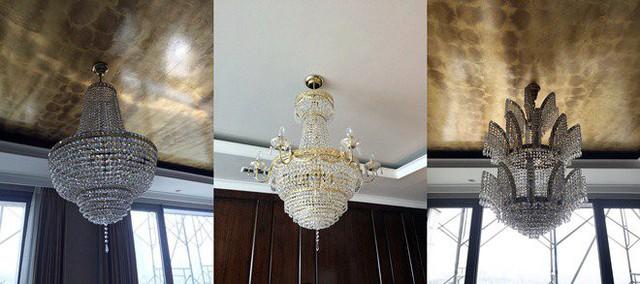 Chưa dừng lại ở đó không gian bếp, phòng ăn và phòng khách còn được trang chí bởi 3 chùm đèn khác nhau được chế tác tỉ mỉ, thủ công với mức giá lên tới hơn 1 tỷ đồng cho 1 chiếc.