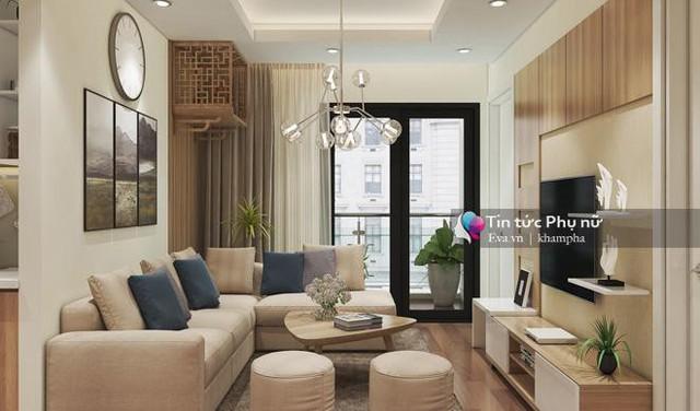 Phòng khách được thiết kế gần ban công để tạo sự thoáng đãng và đón được nhiều ánh sáng tự nhiên nhất. Thiết kế rèm 2 lớp: lớp mỏng phía trong và lớp dày ở ngoài giúp điều chỉnh được độ sáng theo ý muốn.