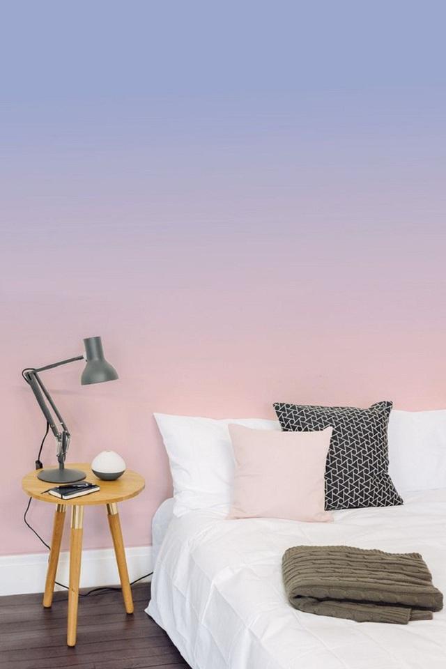 Bức tường phòng ngủ đẹp hút hồn với phong cách ombre.