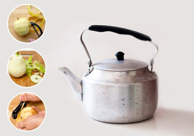 Ấm nhôm hay ấm thuỷ tinh có thể làm sạch bóng bằng vỏ táo, lê hoặc khoai tây.
