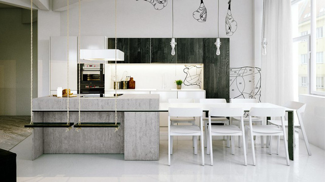 8. Mang dáng dấp của một căn bếp hiện đại nhưng nó vẫn không thể giấu đi được giấu vết của phong cách công nghiệp với thiết kế đảo bếp bằng bê tông.