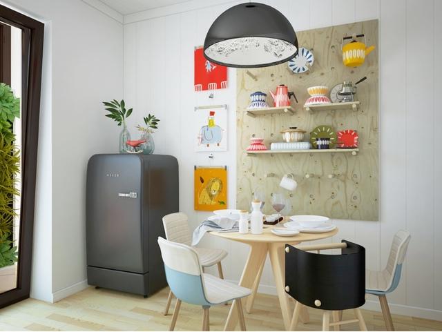 8. Cực kỳ dễ thương và xinh xắn, phòng ăn của xứ Bắc Âu lúc nào cũng lôi cuốn bởi sự tươi sáng và linh hoạt. Chẳng hạn như tấm gỗ dùng như kệ và móc treo trên tường được sắp xếp như một bức tranh đầy màu sắc.