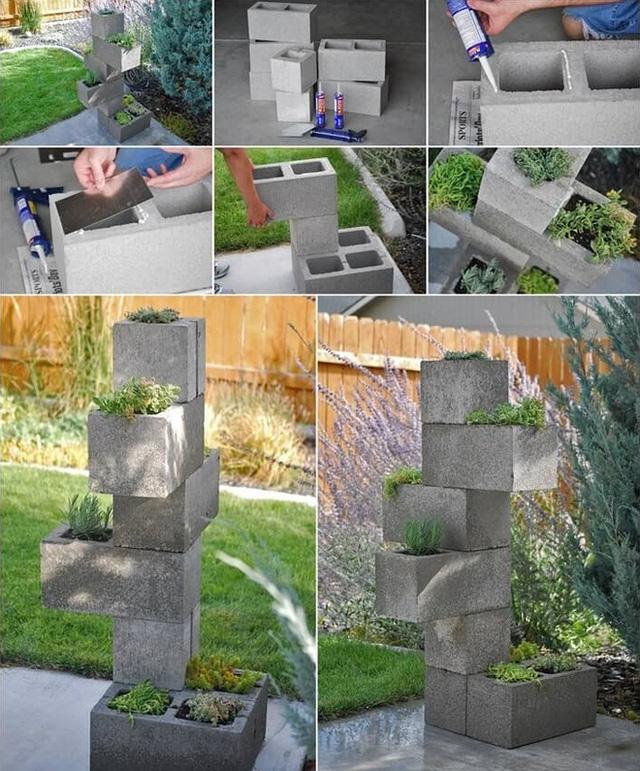8. Đổ khuôn những khối xi măng và xếp chồng lên nhau theo những hướng xoay khác nhau. Cách này sẽ giúp tạo thành một tháp cây và hoa xoay theo nhiều hướng khác nhau tuyệt vời.
