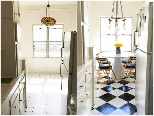 8. Một căn bếp được bố trí đầy đủ hệ thống tủ hợp lý nhưng vẫn không tạo sự nổi bật cho phong cách khi trang trí thiếu điểm nhấn và quá mờ nhạt. Bởi vậy, bạn có thể thay đổi một chút từ việc tạo sự tương phản màu sắc một cách rõ nét. Màu trắng của trần và tường để mở rộng không gian, sơn màu đỏ nâu cho tủ bếp để tăng vẻ đẹp cá tính cho căn bếp nhỏ.