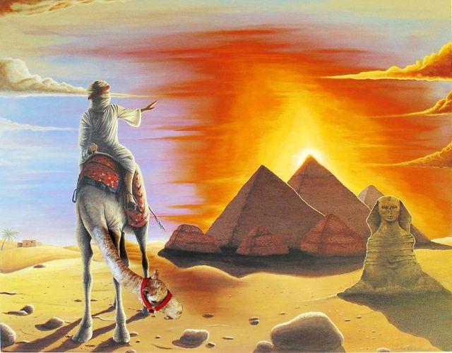Bức vẽ về đất nước Ai Cập với hình đầu chú lạc đà thò hẳn ra ngoài bức tranh.