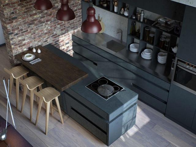 9. Phong cách công nghiệp mang đến căn bếp những đường nét khá rõ ràng, mạnh mẽ.