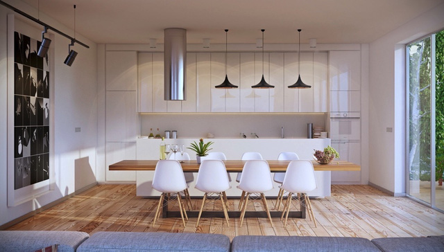9. Điểm đáng chú ý của căn phòng này chính là chiếc bàn ăn. Lích thước của nó dường như vượt xa so với số lượng ghế sắp đặt. Tuy nhiên, điều đó lại tạo nên cảm giác vững chãi cả về yếu tố vật liệu gỗ và thiết kế.
