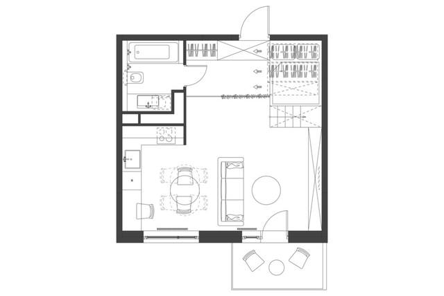 Mặt bằng căn hộ 35 m2. Theo kiến trúc sư, khi cần thiết sofa có thể được kéo áp tường để mở rộng căn bếp, phục vụ mở một bữa tiệc cho 10 người một cách thoải mái.