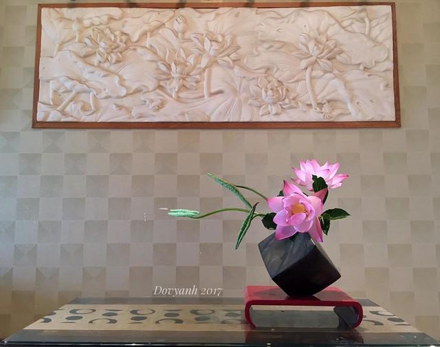 Anh thường ra đầm hái hoa từ 4-5h sáng, khi những giọt sương đêm còn đọng li ti trên từng búp sen hồng, từng chiếc lá xanh non mỡ màng đầu mùa. Thông thường, anh chọn những bông hoa to cắm từ ngày hôm trước, để hôm sau sen nở bung cánh mang vẻ đẹp tinh khôi, thanh khiết.