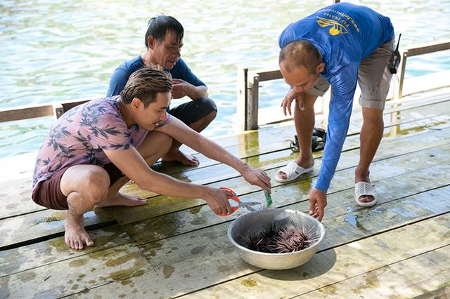 Sau khi đắm mình thỏa thích trong làn nước mát lạnh, Kiều Minh Tuấn và Tiến Luật được ngư dân chiêu đãi những con nhum tươi sống vớt từ dưới biển lên.