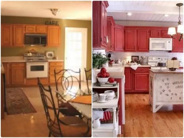 9. Căn bếp sẽ tối hơn và chật hơn khi sử dụng màu nhấn tương tự với màu nền. Vì thế, bạn thay đổi màu nhấn bằng màu sáng, màu nền dùng gam trung tính nhạt để tăng vẻ đẹp nền nã và thanh lịch cho bếp.