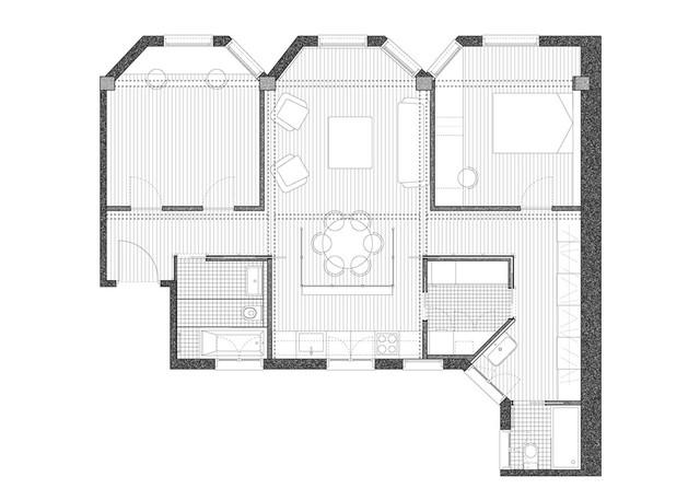 Mặt bằng căn hộ 100 m2.