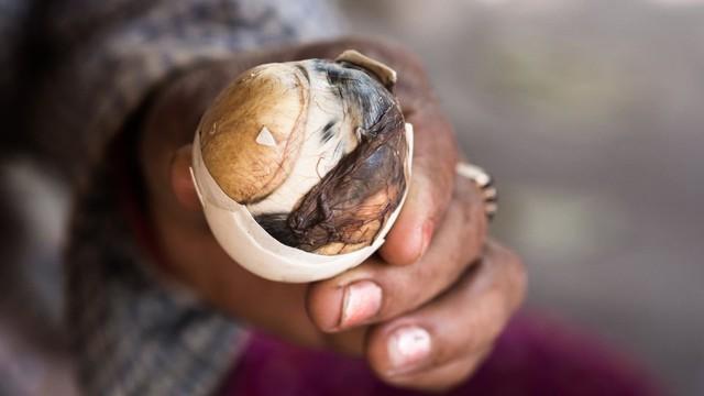 Trứng vịt lộn: Người Việt Nam thường ăn kèm trứng vịt lộn với muối, gừng, rau răm. Đây được xem là món ăn bổ dưỡng, nhưng khá đáng sợ với du khách nước ngoài. Ảnh: Avclub.