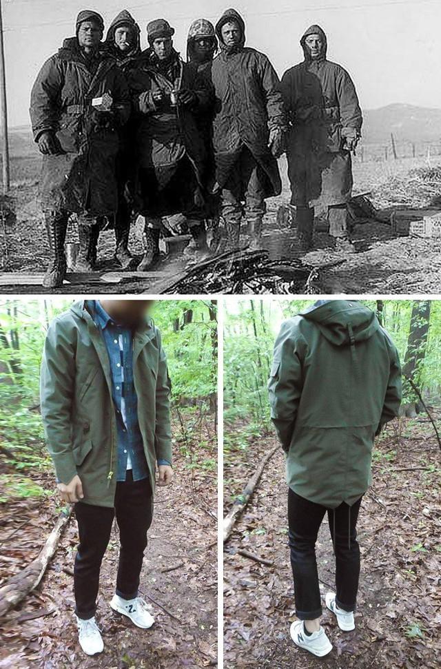 Áo parka hiện đại xuất phát từ loại áo mặc ngoài của quân đội trong những năm 50. Những chiếc áo khoác của họ dài hơn nhiều để chúng có thể quấn quanh mắt cá và giữ ấm lâu hơn. Tính năng tương tự xuất hiện trong áo parkas hiện đại nhưng chỉ để trang trí.