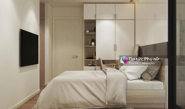 Không gian phòng ngủ cho bố mẹ được thiết kế đơn giản với tông màu chủ đạo là trắng nhưng không kém phần lãng mạn, tinh tế.