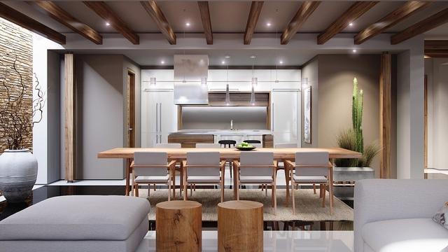 10. Từ phòng khách, bạn có thể nhìn thông suốt đến phòng ăn và phòng bếp. Cách sắp xếp xen kẽ giữa gỗ và sắc trắng tạo nên sự hài hòa, uyển chuyển, kết nối giữa các khu vực chức năng theo từng tầng từng lớp.