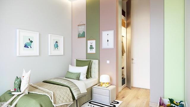 Hệ thống tủ được sơn màu pastel cho con thêm yêu việc sắp xếp đồ đạc quy củ, ngay ngắn.
