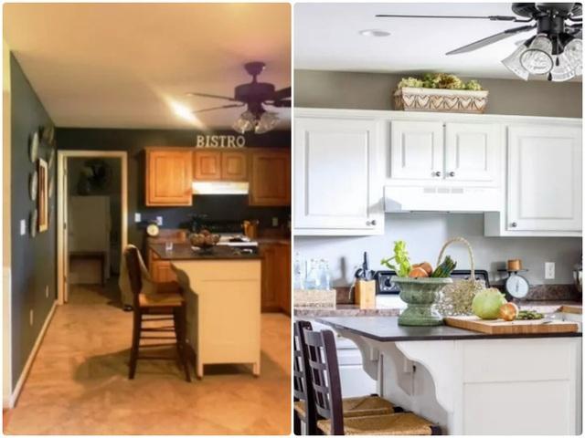10. Màu nâu của gỗ kết hợp với tường trắng dễ khiến căn phòng trở nên cũ kỹ, lỗi thời. Thay vào đó, hãy dùng màu xanh nhạt cho tường và màu xanh đậm hơn một chút cho tủ bếp, vẻ đẹp bất ngờ sẽ khiến bạn yêu hơn không gian nhỏ của gia đình mình.