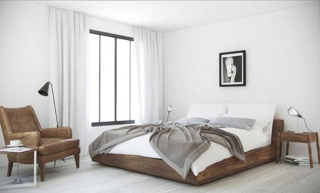 10. Đơn giản mà chất là điều nhiều người sẽ nhận xét về căn phòng này. Tông màu gỗ - trắng với chiếc nệm thật êm và chiếc ghế đọc sách bọc da sẽ đáp ứng được mọi không gian nghỉ ngơi trong nhà.