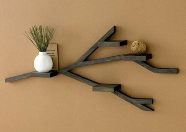 9. Kệ chia nhánh này thực sự đã con mắt người nhìn. Nếu có một chiếc kệ nhỏ bé trên tường, hãy thử kết nối chúng với những chi tiết đơn giản này và bạn sẽ có một tác phẩm nghệ thuật thực sự. Trông chúng thật cool ngay cả khi ở trong phòng ngủ, nhà bếp hay nhà tắm…