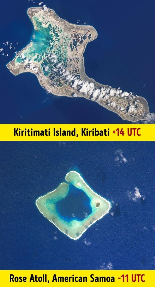 Múi giờ tại đảo Kiritimati, nước Kiribati là +14 UTC, còn múi giờ tại American Samoa là -11 UTC.
