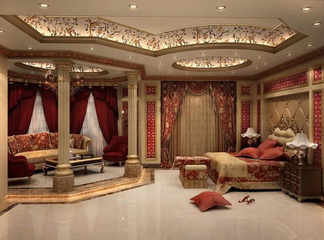 Trong thiết kế Cổ điển và Tân cổ điển, màu đỏ được sử dụng khá nhiều. Kế hợp với nó chính là sắc vàng đồng vương giả và sàn cẩm thạch để ăn gian diện tích.