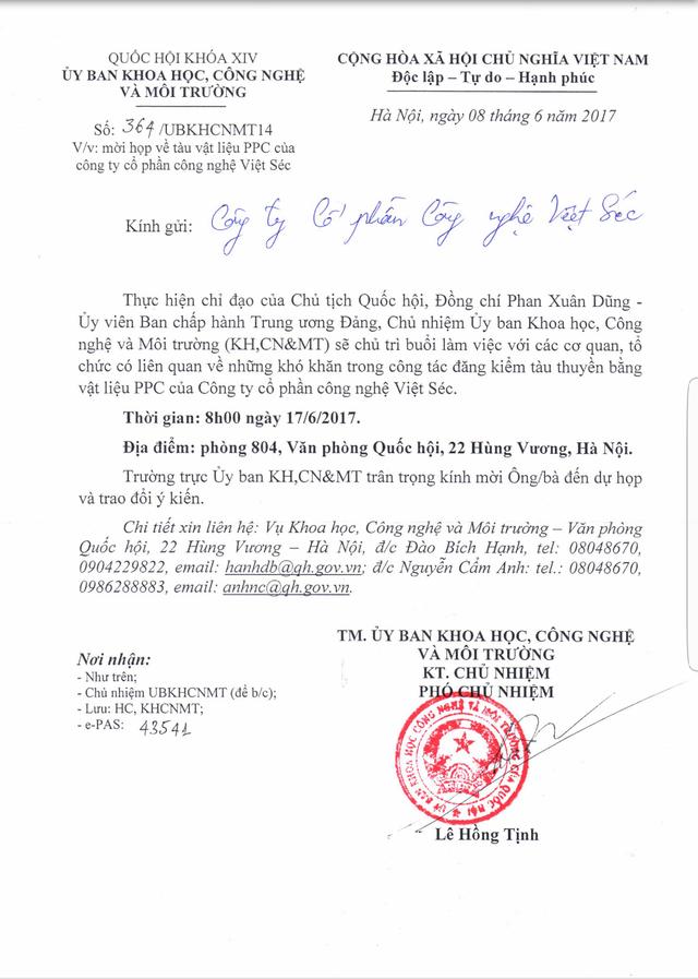 Văn bản của Ủy ban KH,CN&MT Quốc hội cho biết sẽ họp về tầu vật liệu PPC của Cty Cổ phần công nghệ Việt Séc. (ảnh: HC)