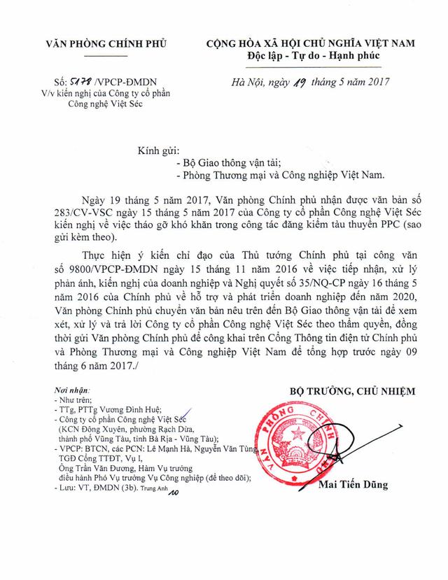 Văn bản của Văn phòng Chính phủ chuyển kiến nghị của DN đóng tàu bằng vật liệu PPC đến Bộ GTVT xem xét, xử lý và trả lời theo thẩm quyền. (ảnh: HC)
