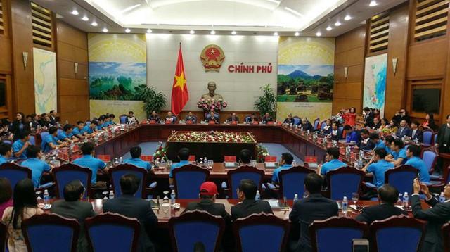 Tại trụ sở Chính phủ, Thủ tướng gặp mặt Đội tuyển U23 Việt Nam - Á quân U23 Châu Á 2018. Ảnh: Vietnamnet.