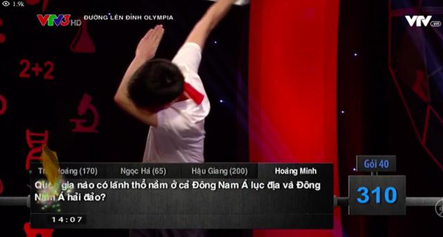Hoàng Minh tạo dáng Dab ăn mừng chiến thắng ở cuộc thi Tháng 1 Quý 1