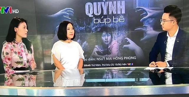 Diễn viên Phương Oanh (vai Quỳnh) và nhà biên kịch Kim Ngân trả lời phỏng vấn trên VTV.
