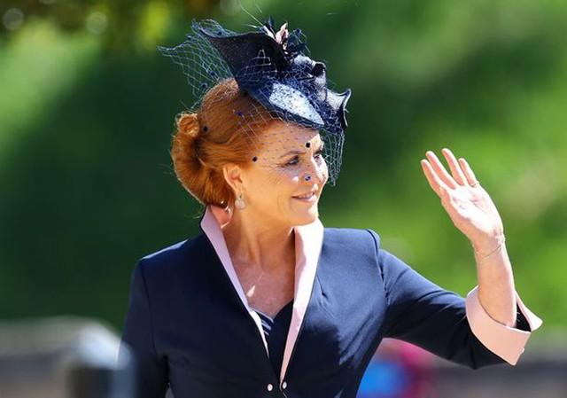 Bà Sarah Ferguson khi tới dự đám cưới Harry - Meghan hồi tháng 5 vừa qua. Ảnh: PA.