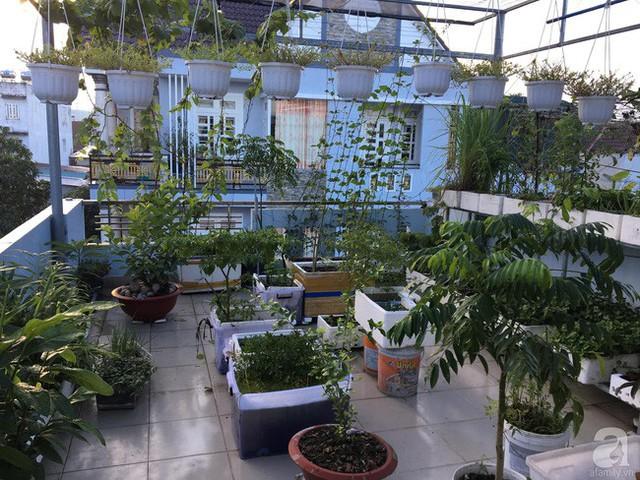 Không gian sân thượng rộng thoáng là nơi được anh Hưng trồng nhiều loại cây và rau sạch.