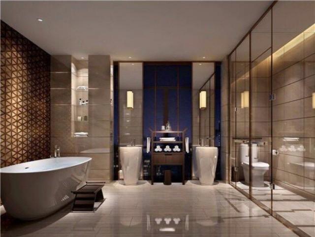 Phòng tắm được thiết kế theo phong cách hiện đại với những mảng màu trung tính vô cùng bắt mắt, sinh động nhờ hệ thống ánh sáng.