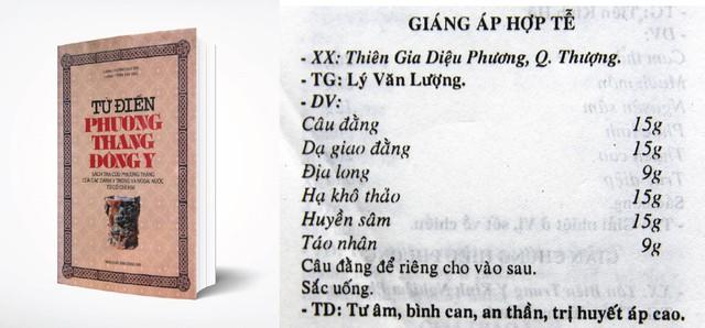 """Hình ảnh bài thuốc Giáng áp hợp tễ được ghi trong sách """"Từ điển phương thang Đông y"""""""