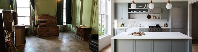 2. Không gian phòng khách được xây dựng từ thế kỷ 19 giờ đây cải tạo lại thành một phòng bếp hiện đại với màu tường tươi sáng và đồ nội thất tối ưu.