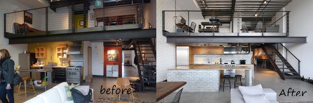 8. Trước đây, khu vực lưu trữ của nhà bếp bị lộ hẳn ra bên ngoài khiến không gian trông bừa bộn và luộm thuộm. Sau khi cải tạo với các kệ lưu trữ đóng thì không gian sàn đã được mở rộng với phong cách hiện đại và tinh tế hơn.