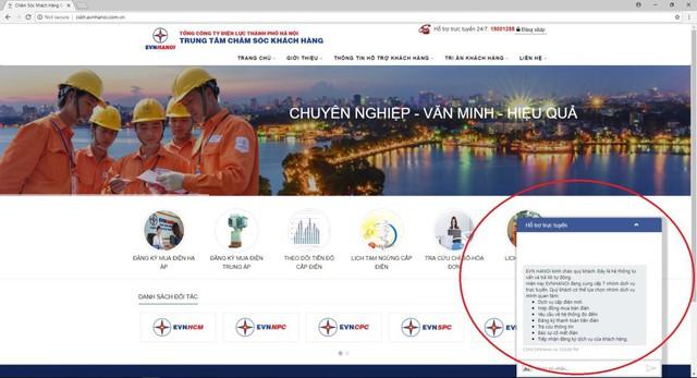 Chatbot hỗ trợ khách hàng qua Facebook EVN HANOI.