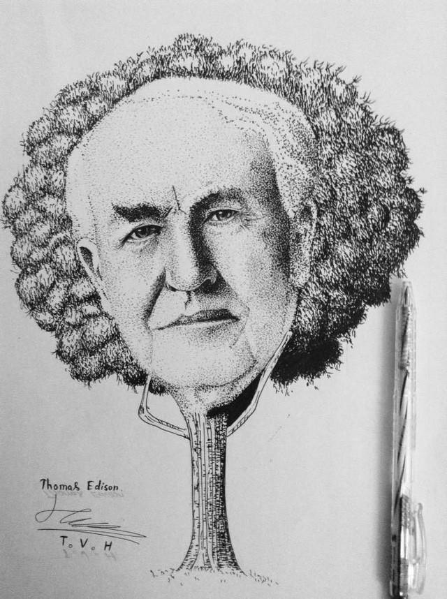 Bức tranh Thomas Alva Edison được phát triển từ một cái cây khiến người xem phải bật cười