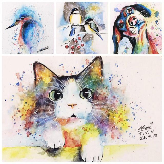 Và vẽ tranh màu cũng rất đẹp