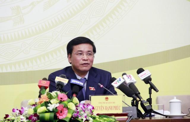 Ông Nguyễn Hạnh Phúc cho biết, tại kỳ họp thứ 6, dự kiến tổng thời gian làm việc của Quốc hội là 24 ngày, khai mạc ngày 22/10 và bế mạc ngày 21/11. Ảnh: QH