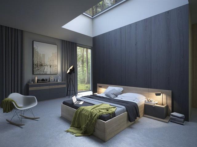 Cửa sổ trời chiếu thẳng xuống phòng ngủ vô cùng táo bạo.