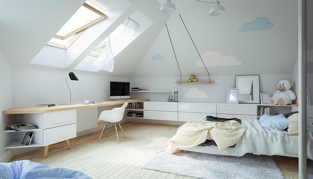 Phòng ngủ của trẻ thơ mộng khi nhìn ra những đám mây mịn xốp bay ngoài trời chứ không chỉ là những bức tường dán đầy mây dễ thương.