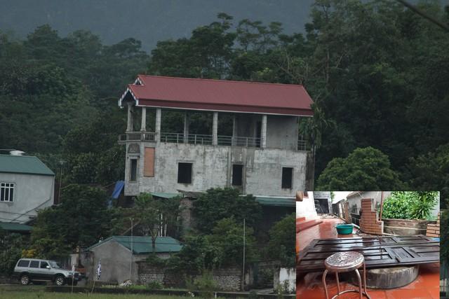 Ngôi nhà 3 tầng, nơi Thương bắt giữ con trai 4 tuổi làm con tin (ảnh to). Chiếc giếng nơi Thương ném thi thể người mẹ già. Ảnh: TL