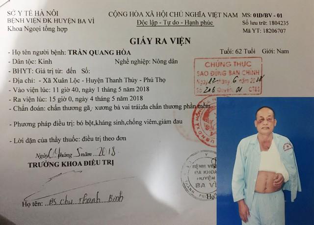 Ông Hòa và giấy ra viện sau cuộc xô xát ngày 1/5.